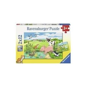 RAVENSBURGER - PUZZLE 2 X 12 ANIMALI DELLA FATTORIA -
